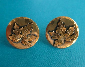 Copper Maple Leaf Earrings - Moderne 60s - Screw Back