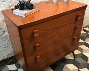 Vintage teak drawer unit by Stag on hairpin legs