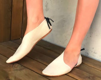 Rilee Shoes ~ Modern asymmetrical pointy toe ballet bootie flats ~ Minimal white leather linen embossed ~ 6-11 Sizes