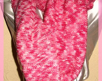 Hand-woven Pink Wool Tube Scarf