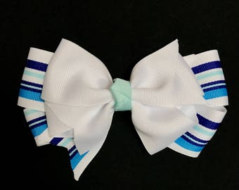 Clearance!!! Blue and White Striped Hair Bow Clip