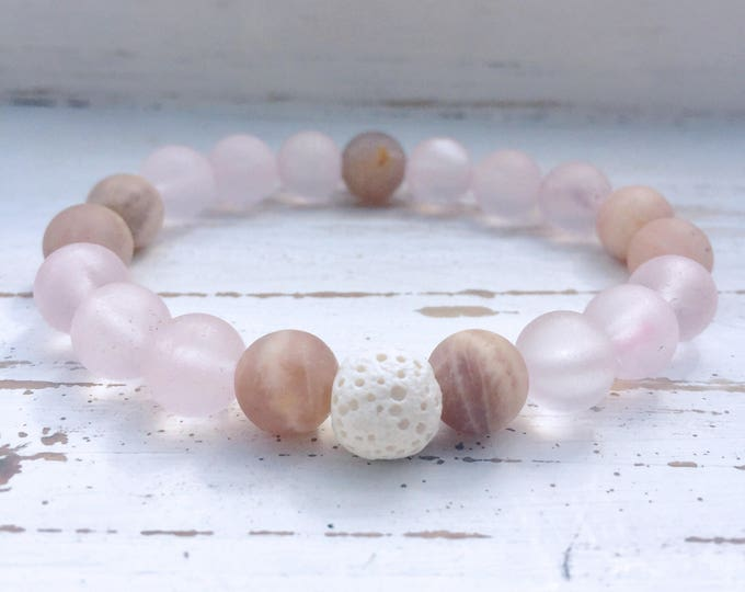 White Lava Rock, Rose Quartz, and Moonstone Beaded Diffuser Bracelet for Essential Oils