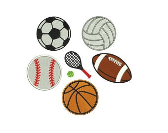 Sport Embroidery Design - set of 6 Sports Machine Embroidery Designs - instant download