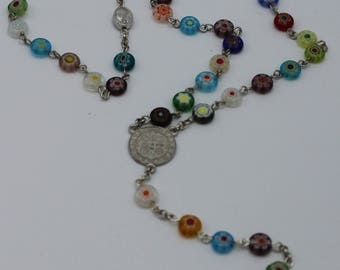Full Five Decade Rosary using Millefiori Glass Beads - Collector's Item