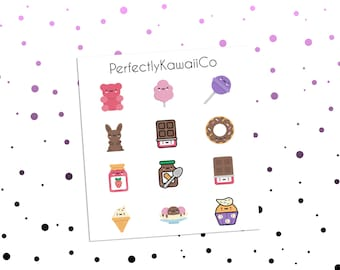 KCD17 Kawaii Candy | Candy Stickers | Sweets Stickers | Chocolate Stickers | Lollipop Stickers | Ice cream Stickers | Planner Stickers