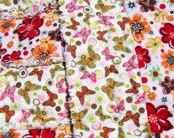 Butterfly and Flower Flannel Rag Baby Blanket Pink Cuddle Throw Rag Quilt Free Shipping in US