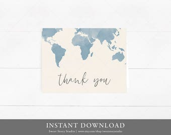 Instant Download | Watercolor Adventure Begins Thank You Card | | DIY Printable Digital File | World map Adventure Thank you note