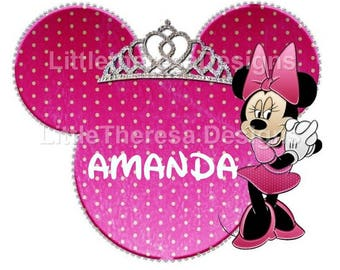 Minnie Mouse  Personalized Princess Iron On Transfer,Digital Transfer,Digital Iron On,DIY