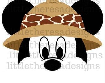 Mickey and Minnie Safari Transfers,Digital Transfers,Digital Iron Ons,Diy