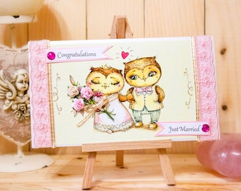 Funny Wedding Congratulations Card Wedding Day Celebration Matrimony Bride and Groom Handmade Couples Shower Card For Bride Just Married
