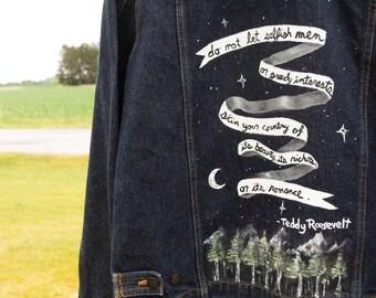 Hand Painted Denim Jacket Quote Environmentalist