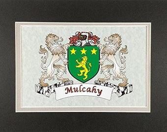 "Mulcahy Irish Coat of Arms Print - Frameable 9"" x 12"""