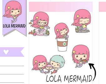 L023 | lazy day planner stickers, girl stickers, family stickers, coffee stickers, knitting stickers, mermaid stickers, kawaii stickers
