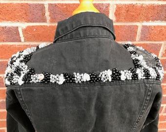 Handmade embellished black jacket