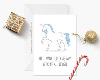 Unicorn Card | Christmas Card | Cute Card | All I Want for Christmas | Holiday Card | Animal Card | Xmas Card | Animal Lover | GCXCA604