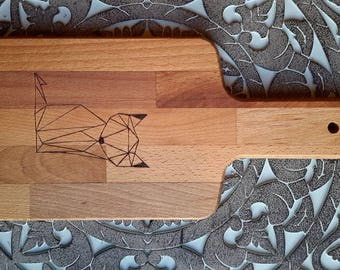 Engraved by hand, Fox, Origami, pyrography bread Board