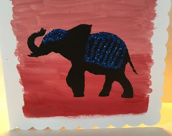 Elephant silhouette with glittering details