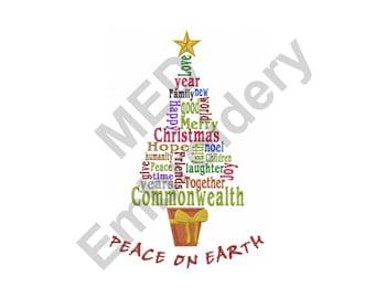 Christmas Tree - Machine Embroidery Design, Peace On Earth