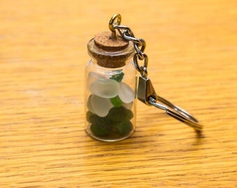 Small seaglass in a bottle keyring