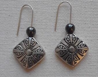 Silver Diamond Drop Earrings – by ButterflyMyst (Silver, Black Hematite)