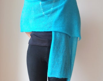 Mohair blue shawl Wedding wrap Scarf for woman Light blue shawl Gift for her Knit scarf Sky blue bridal wrap Mohair wrap scarf