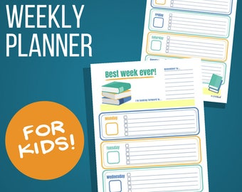 Weekly Planner for Kids: Book Lover's Theme, Printable weekly calendar for children