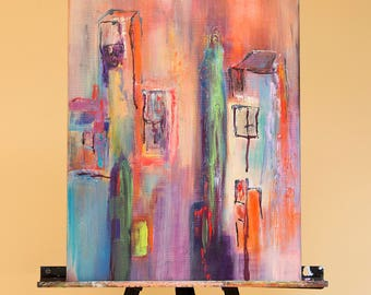 Original, 15x20, acrylic on gallery canvas, contemporary Abstract Cityscape