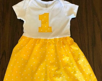 SALE First Birthday - Onesie Dress - Smash Cake Outfit