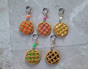 Keychains with beads and pendant. Tart in Fimo. You Choose! HANDMADE