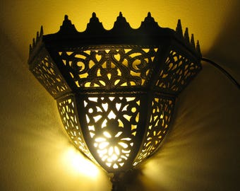 Hand-punched with Traditional Moroccan Brass Wall Sconce