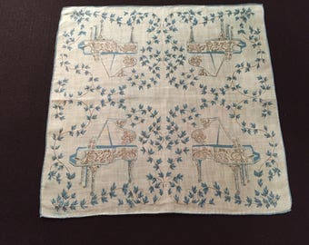 Vintage Linen Hankie with Pianos