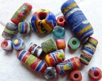 Antique Kiffa Beads, Mauretania, partly replica beads Indonesia, 2 genuine antique beads