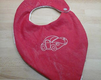 Set of 2 cute customizable bibs in coated cotton (waterproof) and cotton Terry