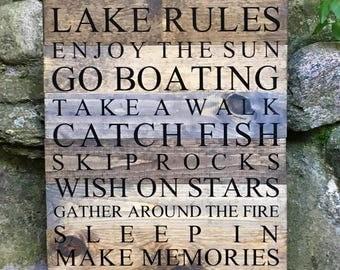 Lake Rules, Lake Sign, Lake Sign Rules, Cabin Sign, Cabin Decor, Lake House Rules