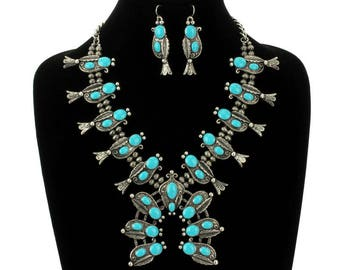 Turquoise Western Squash Blossom Necklace Set-AN1295SBTQ006