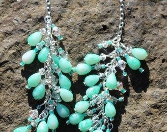 Seafoam Glass & Crystal Cluster Earrings
