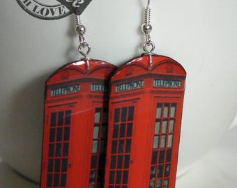 Red phone box hanging earrings