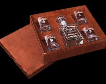 Jack Daniels Whiskey glass Whiskey Decanter & glasses Gift for him Gift for man Christmas gift Christmas gift for Couple Personalized glass