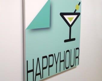Happyhour - Sign, bar sign, italian sign, shop sign, restaurant sign, food sign, kitchen sign, pub sign | Tropparoba - 100% made in Italy