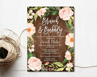 Brunch and Bubbly Bridal Shower Invitation, Rustic Bridal Shower Invitation, Wood Bridal Shower Invite, PERSONALIZED, Digital file, #D12