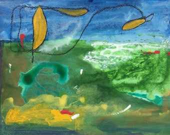 Flying Fish -Mixed media on watercolor paper