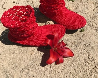 Red summer women cotton boots