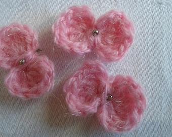set of 3 way bows crochet appliques