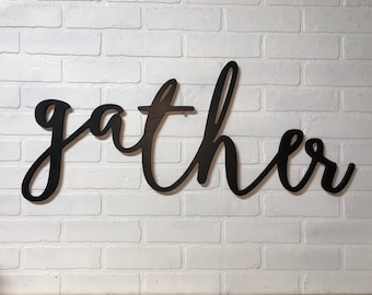 Gather Word Wood Cut Out Wall Decor Piece