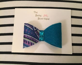 Teal two toned felt bow