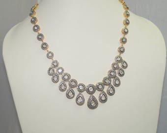 Victorian style 12.70cts rose cut diamonds sterling silver wedding necklace - SKU PJ110803