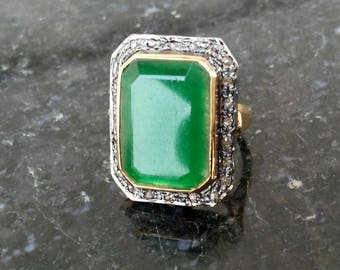 Victorian look 1. 30ctw rose cut diamonds green emerald sterling silver rectangular shaped valentine's gift love ring
