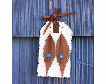 Leather Feather Earring with Bead