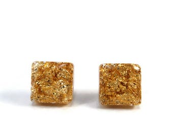 Gold square stud earrings, Gold studs, Gold square earrings, Square earrings, Resin earrings, Square resin studs, Gold metal leaf earrings