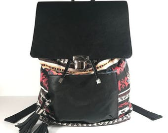 Tribal Print Cotton Bookbag with Leather Details
